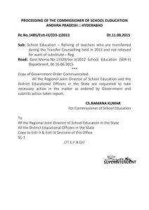 2013 transfered teachers not releaved orders